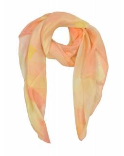 Šátek z hedvábí, čtverec, růžovo-krémový, 100x100cm