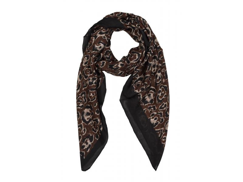 Šátek z hedvábí, čtverec, černo-hnědý, potisk leopardích skvrn 100x100cm
