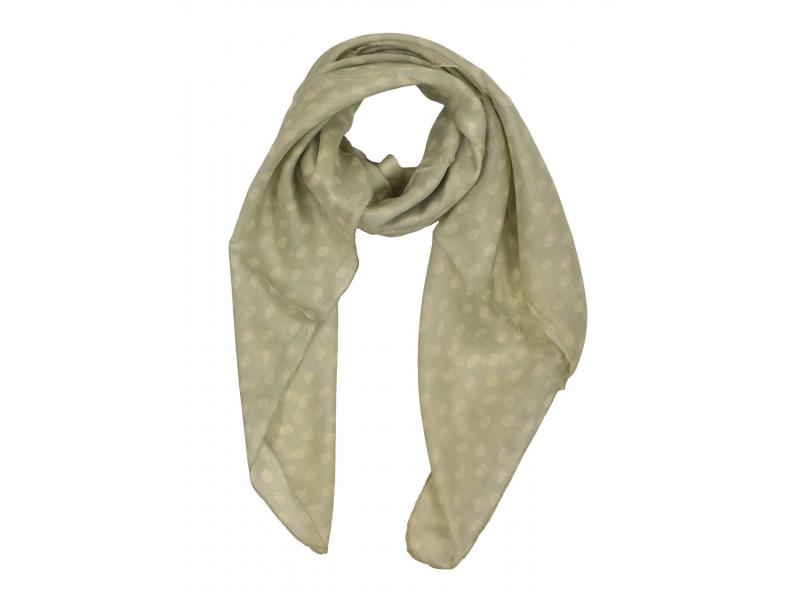 Šátek z hedvábí, čtverec, světle šedý, potisk malých lebek 100x100cm