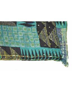 Šátek z hedvábí, čtverec, zeleno-černý, potisk, našité flitry 100x100cm