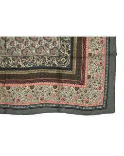 Šátek z hedvábí, čtverec, šedo-růžový, drobný potisk, 100x100cm