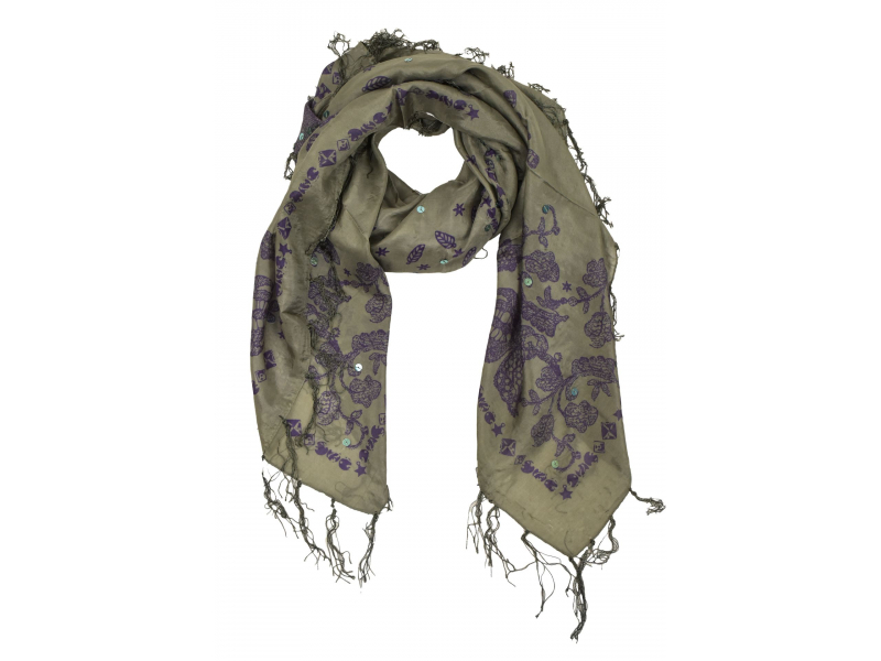 Šátek z hedvábí, čtverec, šedý, drobný fialový potisk, našité flitry, třásně