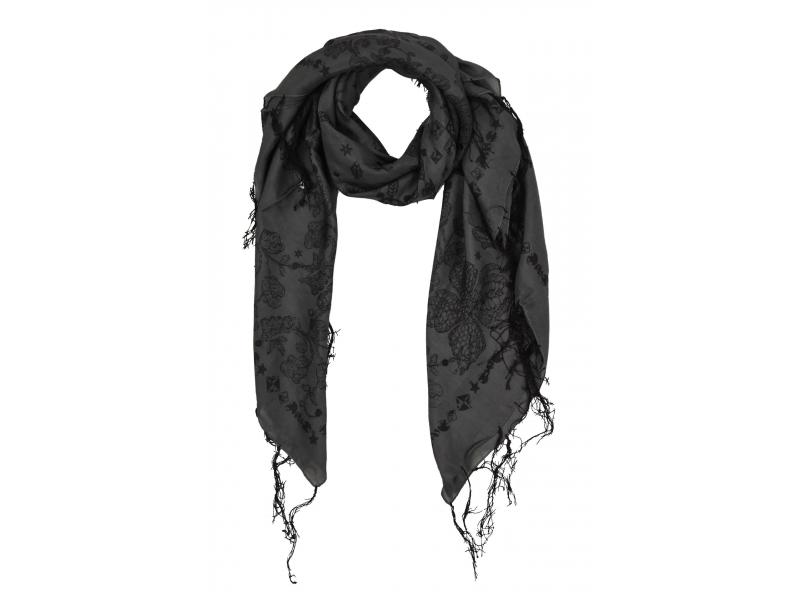 Šátek z hedvábí, čtverec, šedý, drobný černý potisk, našité flitry, třásně
