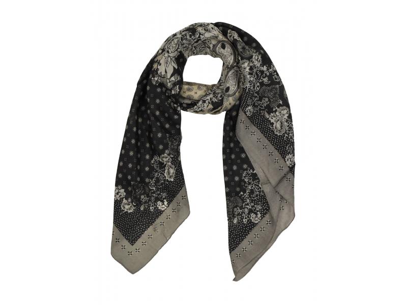 Šátek z hedvábí, čtverec, šedo-černý, drobný potisk, 100x100cm