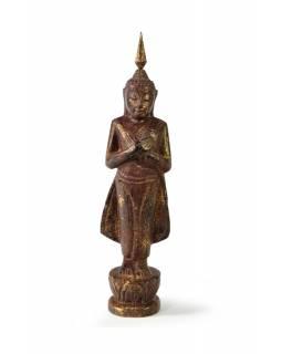 Narozeninový Buddha, pátek, teak, hnědá patina, 23cm