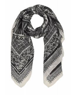 Šátek z hedvábí, čtverec, černo-bílý, drobný potisk, našité flitry 100x100cm
