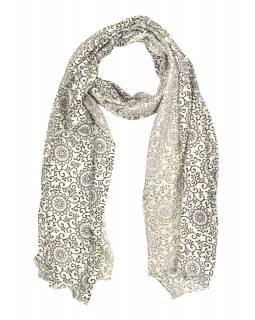 Šátek z viskózy, černo-bílý, potisk mandal, 77x184 cm