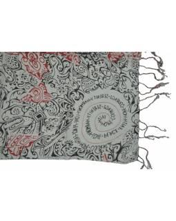 Šátek z viskózy, šedý s černo-červeným potiskem, třásně, 70x180 cm