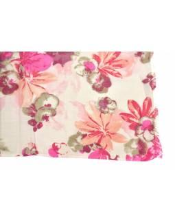 Šátek z viskózy, bílý s potiskem růžových květin, 70x180 cm