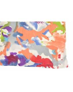 Šátek z viskózy, bílý s barevným potiskem , 70x180 cm