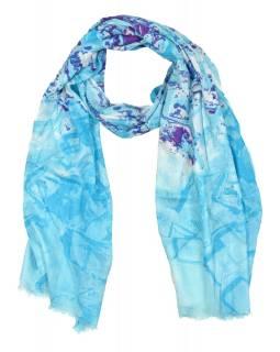 Šátek z viskózy, modrý s fialovo-bílým potiskem , 70x180 cm