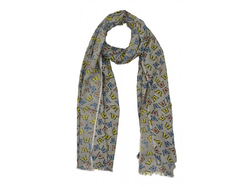 Šátek z viskózy, šedý s barevným potiskem motýlů, 70x180 cm
