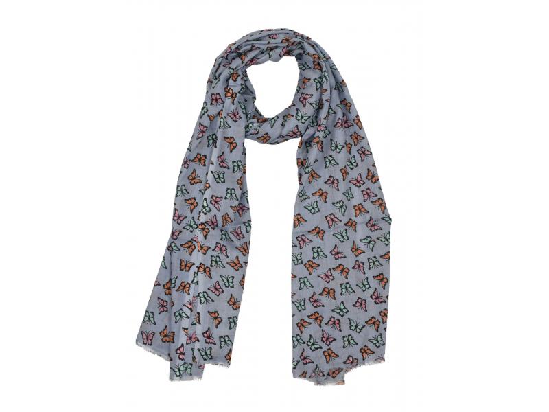 Šátek z viskózy, modrý s barevným potiskem motýlů, 70x180 cm
