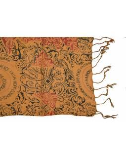 Šátek z viskózy, hnědý s černo-červeným potiskem, třásně, 70x180 cm