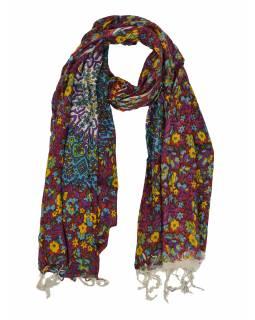 Šátek z viskózy, barevný s potiskem květin a mandal, třásně, 70x180 cm