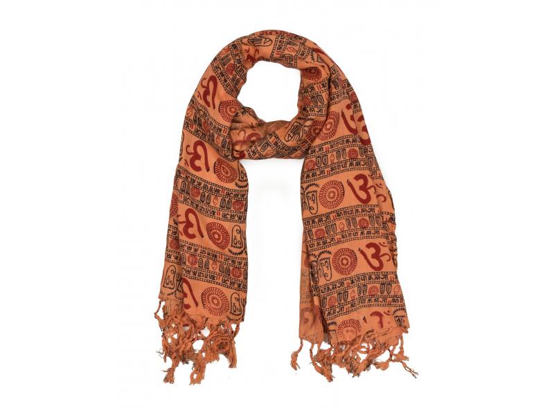 Šátek z viskózy, lososový s černo-červeným potiskem Óm, třásně, 70x180 cm