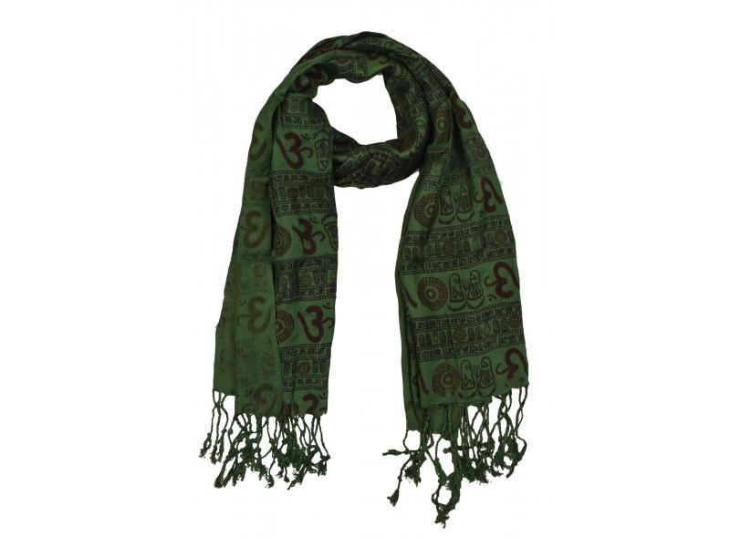 Šátek z viskózy, tmavě zelený s černo-červeným potiskem Óm, třásně, 70x180 cm