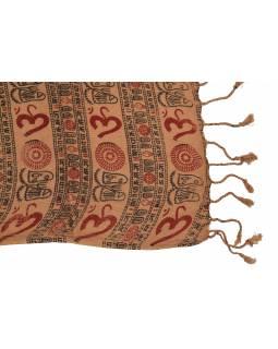 Šátek z viskózy, hnědý s černo-červeným potiskem Óm, třásně, 70x180 cm