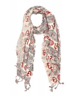 Šátek z viskózy, bílý s černo-červeným potiskem Óm, třásně, 70x180 cm