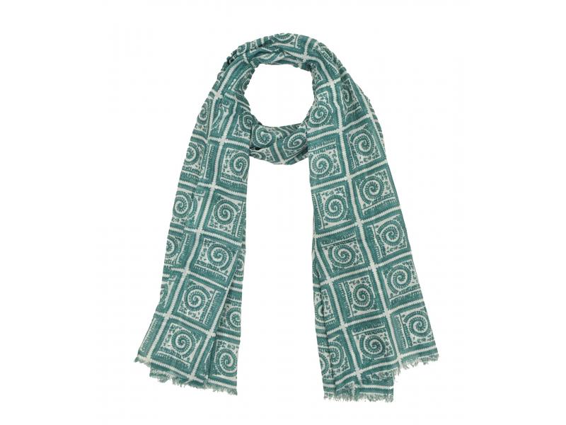 Šátek z bavlny, zeleno-bílý, potisk čtverců a spirál, 70x180 cm