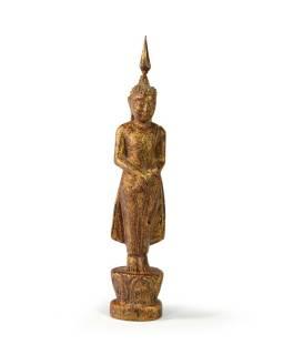 Narozeninový Buddha, neděle, teak, hnědá patina, 23cm
