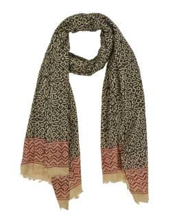 Šátek z bavlny, béžový, černo-červený potisk, 70x180cm