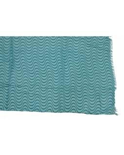 Šátek z bavlny, modrý s potiskem vlnek, 70x180cm