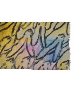 Šátek z bavlny, barevný s potiskem zajíců, 65x160cm