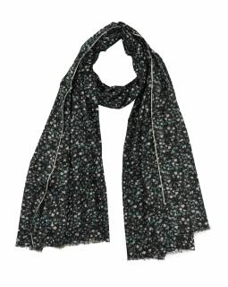 Šátek z bavlny, černý s potiskem drobných květin, 70x180cm