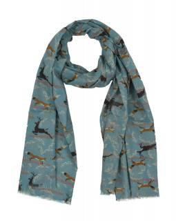 Šátek z bavlny, modrý s potiskem jelenů a lišek, 70x180cm