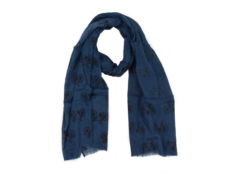 Šátek z bavlny, tmavě modrý s potiskem bicyklů, 70x180cm