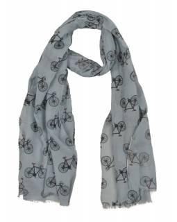 Šátek z bavlny, světle šedý s potiskem bicyklů, 70x180cm