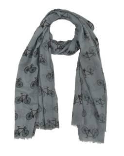 Šátek z bavlny, tmavě šedý s potiskem bicyklů, 70x180cm