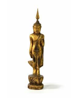 Narozeninový Buddha, pondělí, teak, zlatá patina, 23cm