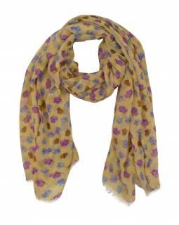 Šátek z bavlny, béžový, barevný potisk drobných motýlů 107x176cm