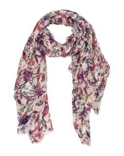 Šátek z bavlny, bílý, barevný potisk různých květin 110x172cm