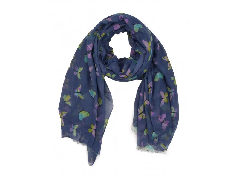 Šátek z bavlny, modrý, potisk barevných motýlů 107x180cm
