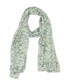 Šátek z viskózy, bílý s drobným zeleno-šedým potiskem květin, 110x170 cm
