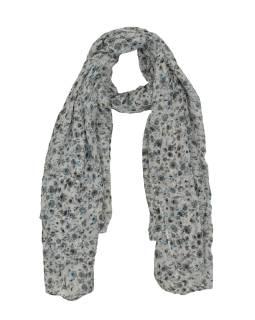 Šátek z viskózy, bílý s drobným modro-šedým potiskem květin, 110x170 cm