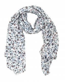 Šátek z viskózy, bílý s drobným červeno-šedým potiskem květin, 110x170 cm