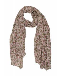 Šátek z viskózy, bílý s drobným zeleno-červeným potiskem květin, 110x170 cm