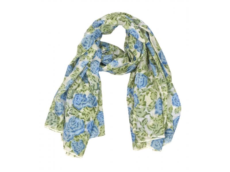 Šátek z viskózy, bílý se zeleno-modrým potiskem květin, 110x160 cm