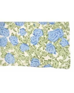 Šátek, bílý se zeleno-modrým potiskem květin, 110x160 cm