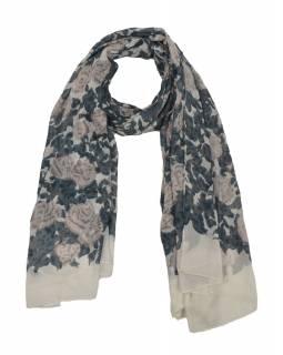 Šátek z viskózy, bílý s hnědo-béžovým potiskem květin, 110x160 cm