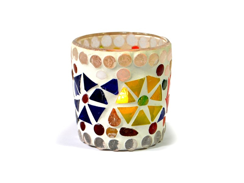 Lampička, skl.mozaika, kónická, průměr 6cm, výška 6cm