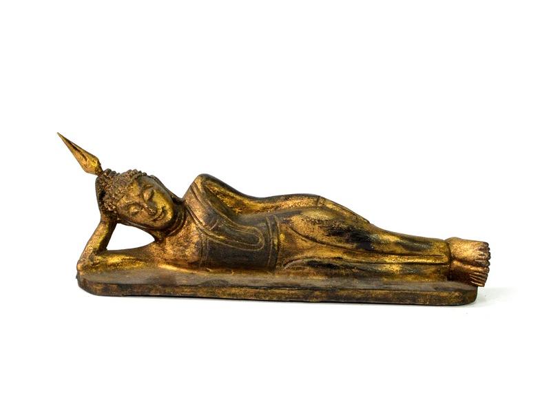 Narozeninový Buddha, úterý, teak, zlatá patina, 23cm
