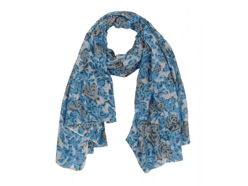 Šátek z viskózy, bílý s šedo-modrým potiskem květin, 110x160 cm