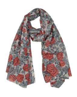 Šátek z viskózy, bílý se šedo-červeným potiskem květin, 110x160 cm