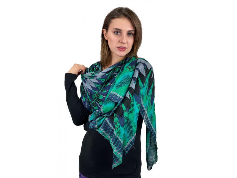 Šátek z viskózy, šedo-zeleno-modrý, velká Mandala, 110x180 cm