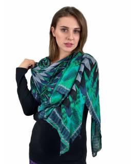 Velký šátek, šedo-zeleno-modrý, velká Mandala, 110x180 cm